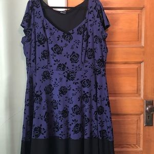 City Chic Blue And Black Floral Dress XXL